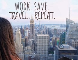 WORK. SAVE. TRAVEL. REPEAT. inspirerende reis quotes
