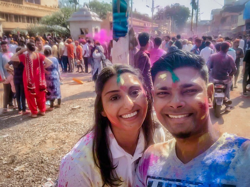 Holi vieren in Mathura India